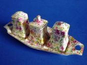 Royal Winton 'Estelle' Chintz Cruet with Tray c1950